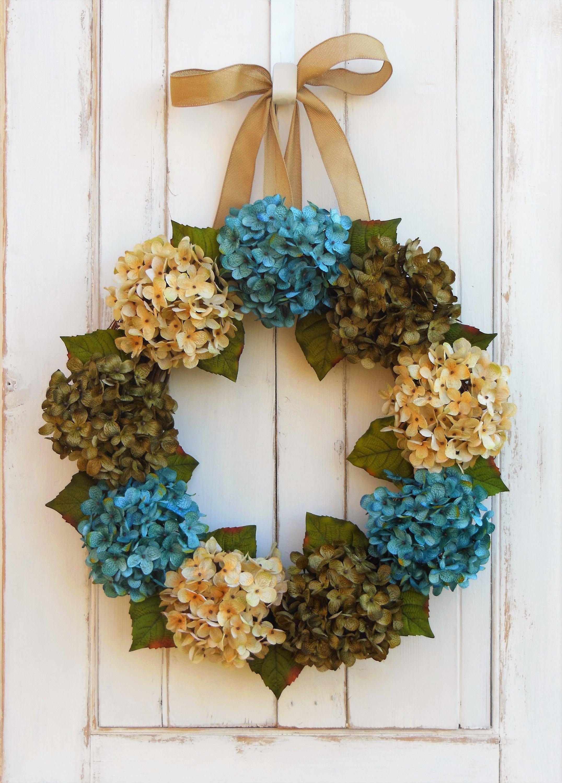 Hydrangea Wreath Front Door Wreath Summer Wreath Summer
