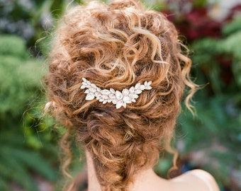 "Asymmetric crystal wedding hair comb ""Liv"""