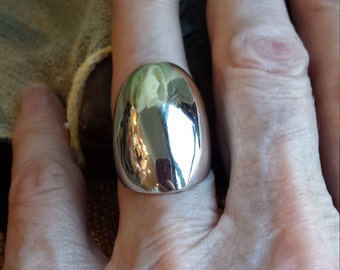 Sterling silver vintage dome ring