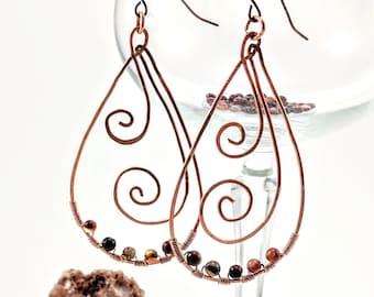 Copper & Carnelian Hammered Earrings