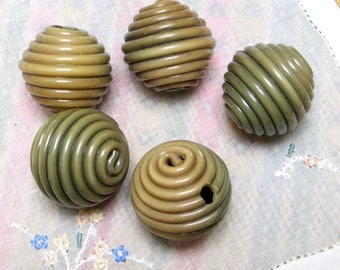 5 VINTAGE Large BEADS Extruded CELLULOID Buttons Green Snail Spaghetti Balls Necklace Bracelet Repurpose 1930s Jewelry Early Plastic Olive