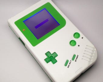 White and Green Custom Game Boy with Backlight / Backlit