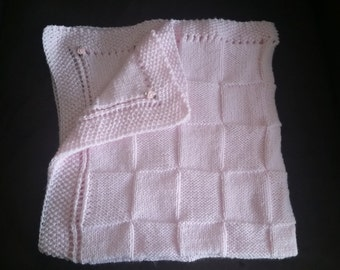 hand-knitted beautiful Bernet baby blanket(pink)