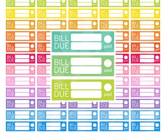 PRINTABLE Bill Due Planner Stickers, Planner Stickers Bill Due, Bill Stickers, ECLP Stickers, Erin Condren Budget,ECLP, Stickers for Planner