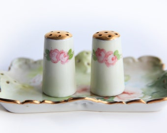 Vintage Small Porcelain Salt & Pepper Shakers Individual Size Shakers ~ Victorian / Edwardian Charm ~ Pink Roses Gold and Green
