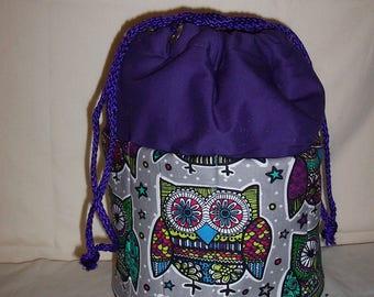 Owls Tote Bag on purple