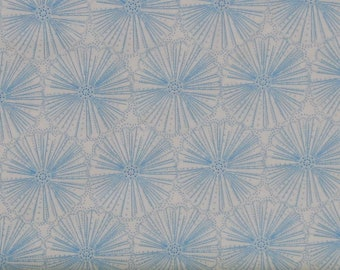 Light Blue Floral on White 100% Cotton Quilt Fabric, Etched Flower by Greta Lynn for Kanvas Studio, KAS8814P-09
