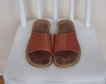 Vintage Orange Leather Slip on Sandals Womens Size 7 1/2