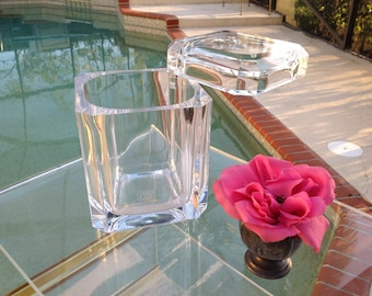 VINTAGE LUCITE ICEBUCKET / Faceted Lucite Ice Bucket / Thick Lucite / Swivel Lid 70's Glam Ice Bucket at Retro Daisy Girl