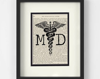 Doctor Gift - MD and Caduceus over Vintage Medical Book Page - MD Graduation, Medical Student Gift, Medical School Graduation, MD Gift
