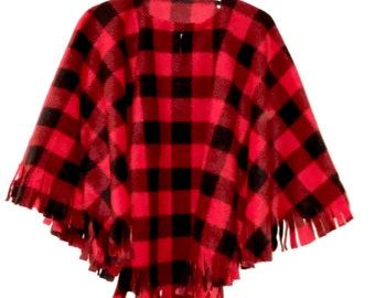 Girl's Fleece Red Black Buffalo Check Plaid Poncho