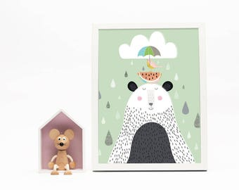 Bear and Bird Print
