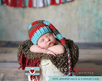 Elf Hat in Aqua,Red, & Taupe with a Braided Tail