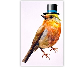 Bird Print, Watercolour, Top Hat, Canvas Art, Large Poster, Animal Wall Decor, Nursery Room