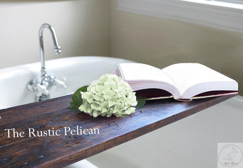 Rustic Bathtub Caddy Wood bath tray Rustic Bathtub Caddy