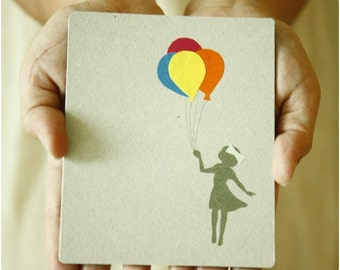 Fly away with me Balloon  Original Paper Art work