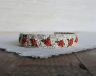 Orange Rose Bracelet, Gift For Her, Handmade Jewelry, Embroidered Bracelet, Linen Cuff Bracelet, Gift Under 50, Gift For Mom