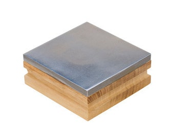 BENCH BLOCK Steel 3 Inch with WOOD Base for Stamping and Texturing Metal - Hardening Wire -  Jewelry Tools for Metal Work