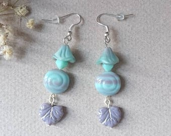 Purple and turquoise Czech glass beads earrings
