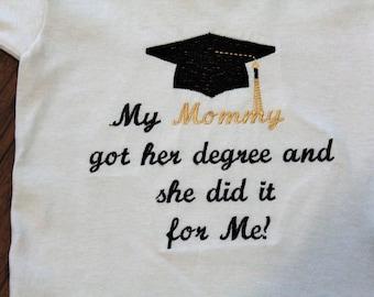 Graduation, graduation shirt, graduation bodysuit, graduation cap, bodysuit, tshirt, t shirt, t-shirt, mommy, baby clothes, kids clothes