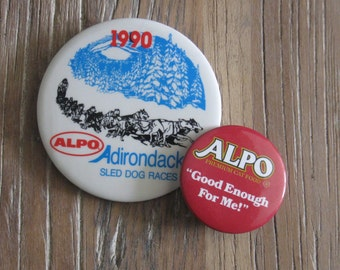 2 Alpo Badges Buttons 1990 Adirondeck Sled Dog Races & Premium Cat Food