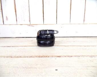 Vintage thick black leather silver buckle belt/Mezlan belt