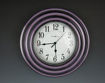 Ceramic Clock,Hanging Clock,Handmade,Wall Clock,Howard Miller Clock,Pottery Clock,Lavender Clock,Jan's Pottery,Kitchen Clock,Clay Clock