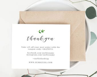 INSTANT Business Thank You Cards, Editable PDF Printable Packaging Inserts for Online Shops, Etsy Sellers | Rustic Modern Brand