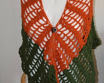 70's Earth Tones Blood Orange and Olive Green Crochet Lace Wrap