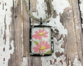 Soldered Art Charm, Mother's Day Gift, Vintage Pink Hankie, Recycled Linen, Ladies Handkerchief, Vintage Style Jewelry, Cottage Chic, Shabby
