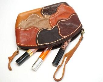 sheep skin cosmetic bag, Genuine sheep skin organizer bag, Patch work leather bag,pouch, soft leather bag, leather clutch,Leather travel kit