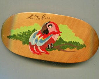 Wooden Parrot Hair Clip from Costa Rica
