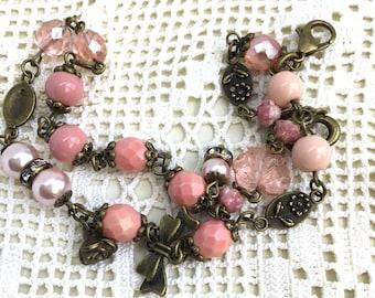 Pink antiqued brass vintage style bracelet antiqued romantic beaded bracelet