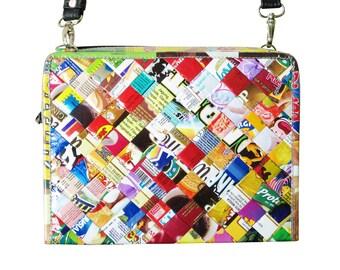 Medium zip crossbody bag using candy wrappers - FREE SHIPPING, sweet wrappers bag, candy wrappers bag, vegan bag, vegan gift