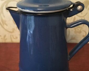 French Enamel Individual Coffee Pot in Blue