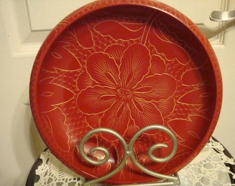 Oriental Red and Gold Lacquer Bowl