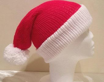 Santa Hat for Adults - Womens Santa Hat - Mens Santa Hat - Christmas Santa Hat - Black Friday Sale - Knitted Santa Hat by MakeLikeAGinger