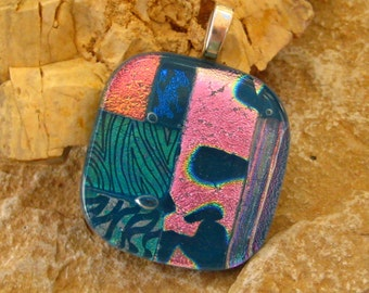 Fused Glass Pendant, Dichroic Glass Necklace - Tradewinds
