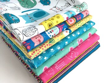 Kitty Fat Quarter Bundle - 7pc - Fat Quarters for Quilting, Quilting Supplies, Cat Fabric