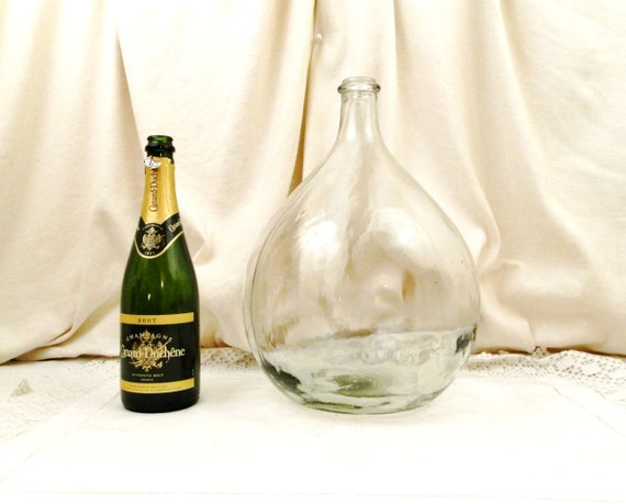 Large Vintage French Clear Glass Demijohn / Carboy 10 L / 2.64 Gallons, French Country Farmhouse Decor, Round Demi John Bottle from France