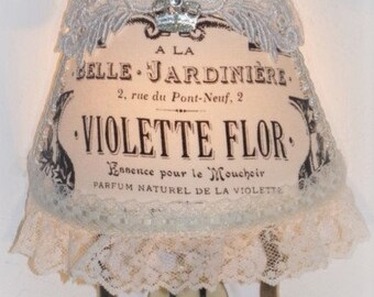 French Eiffel Tower VIOLETTE FLOR Night Light with Ivory Lace Ribbon Trim Applique and Silver Glitter Crown