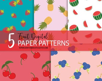 Fruit Digital Paper | Digital Paper, Fruits Background, Fruit Clipart, Printable Paper, Fruit Background, Fruit, Digital Patterns, Tropical
