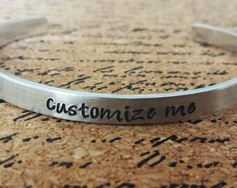 "Custom Personalized 1/4"" Aluminum Bracelet Cuff - Hand Stamped"