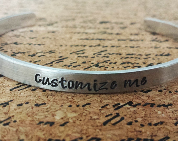 """Featured listing image: Custom Personalized 1/4"""" Aluminum Bracelet Cuff - Hand Stamped"""