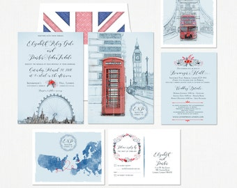British United Kingdom London Tower Bus UK Destination wedding Invitation Suite European wedding - Illustrated invitation -Deposit Payment