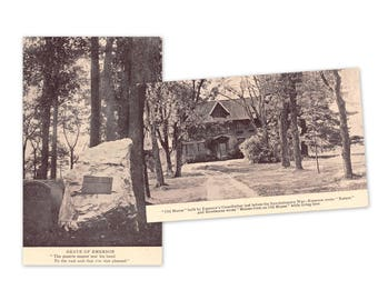 Concord Massachusetts vintage postcards | Ralph Waldo Emerson, Sleepy Hollow Cemetery | 1910s MA hometown decor, literary gift | SET of 2