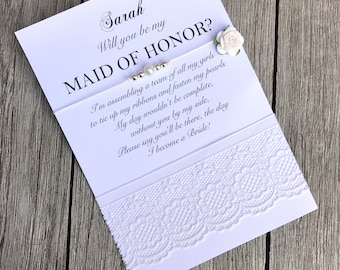 Maid of honor proposal, Ask maid of honor, Maid of honor gift, Maid of honor wish bracelet, Bridesmaid pearl bracelet, B9