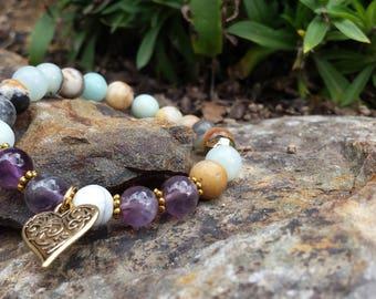 Elegant Amethyst and Amazonite Bracelet