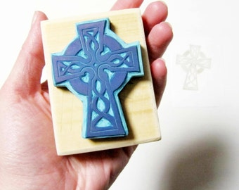 Rubber stamp irish celtic high cross handcarved wood mounted