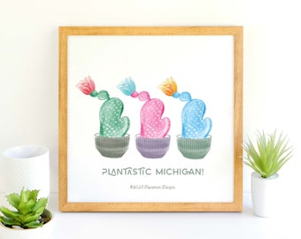 Plantastic Michigan Cacti / Succulents / Three Cacti / Cactus Illustration <ART PRINT>